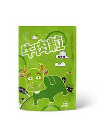 绿色小牛牛肉粒包装设计