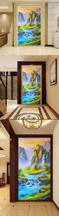 高山流水生财山水情风景画玄关门厅油画