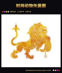 金色狮子矢量图图片下载