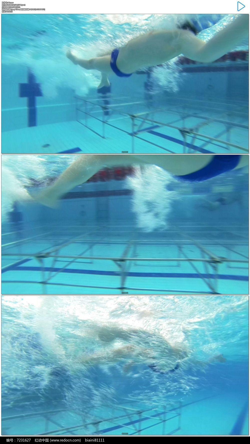 运动员游泳比赛实拍视频素材图片