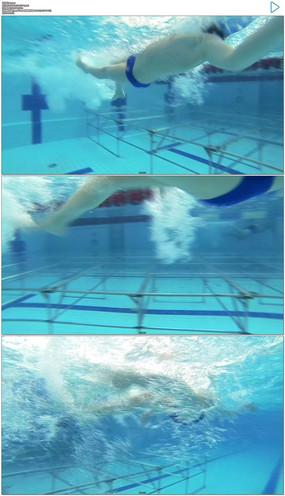 运动员游泳比赛实拍视频素材