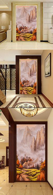 中式手绘山水画高山油画玄关门厅壁画