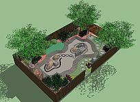 小型花园的SU模型设计-