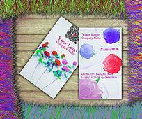 水粉玫瑰花店二维码名片设计