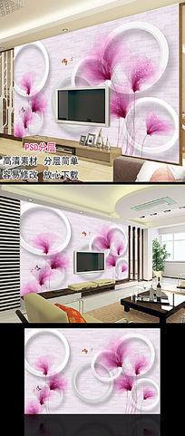 现代简约手绘花朵花卉3D背景墙图片