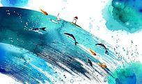 水墨卡通海洋插画