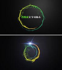 粒子发光光影环绕logo文字ae模板