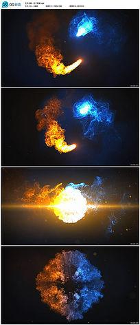 高清炫彩粒子水墨烟雾对撞视频背景