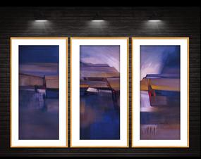 高清油画现代抽象装饰画 PSD