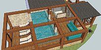 东南亚风格的室内游泳池的SKP模型