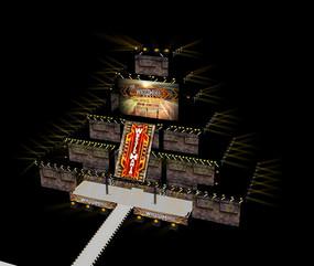 金字塔式舞台SU模型