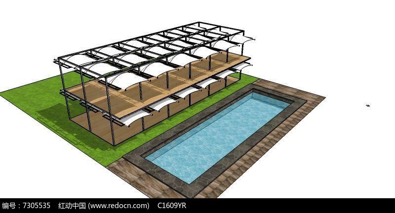 游泳池和休息台模型图片