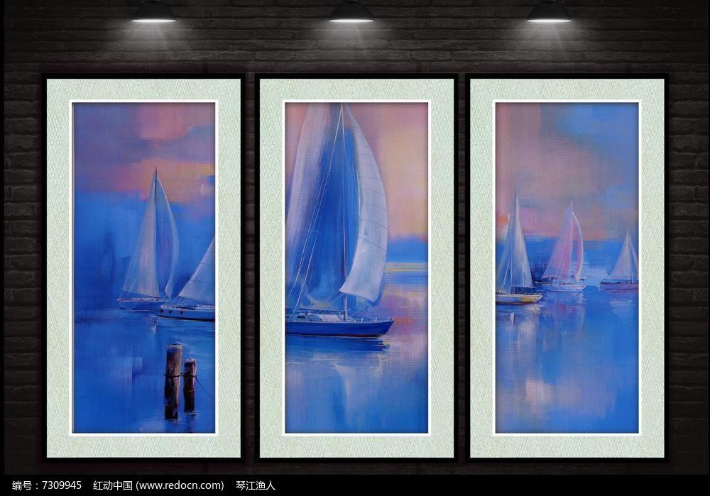 海上同船抽象装饰画图片