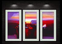 红色夕阳风景抽象装饰画