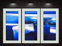 蓝色风景现代抽象装饰画