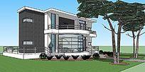 二层阳光小别墅建筑住宅SU模型