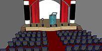 魔术师的舞台幕布SU模型