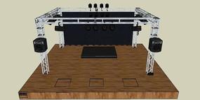室内舞台的SKP模型素材带音响灯光