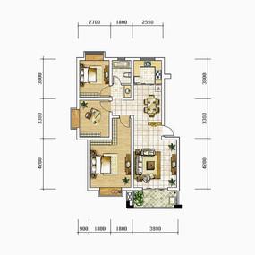 套二大客厅户型图 PSD