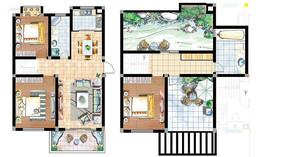 小别墅装修绿化户型图 PSD