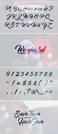 英文字母数字手写风格排版组合ae模板