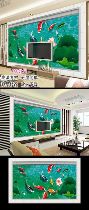 荷花九鱼中式电视背景墙