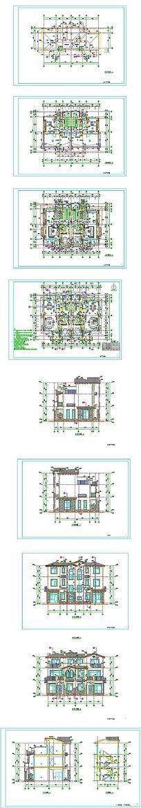 三层别墅建筑设计CAD图