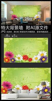 生态菊花背景墙装饰画