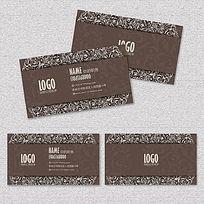 咖啡色歐式花紋高檔名片卡片