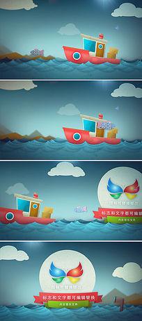 卡通小船出海打鱼logo标志展示ae模板