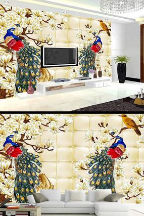 孔雀花鸟软包背景墙