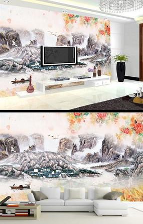 水墨山脉花卉时尚背景墙