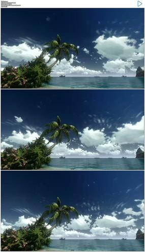 蓝天白云大海实拍视频素材