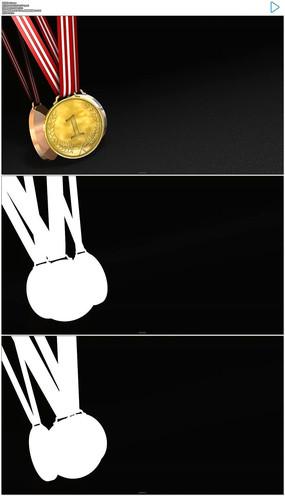 旋转的金牌银牌铜牌实拍视频素材