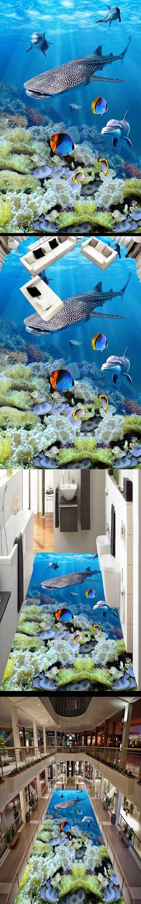海洋世界海豚3D立体地板地砖地画