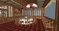 中式餐厅茶楼酒店室内SKP模型布置