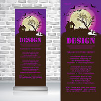 紫色鬼屋蝙蝠万圣节鬼节易拉宝