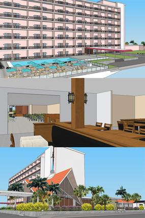 度假村度假酒店餐厅室内SU模型