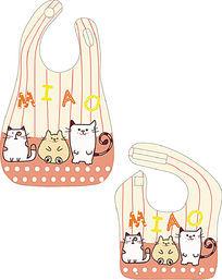 清新三只小猫儿童围嘴设计