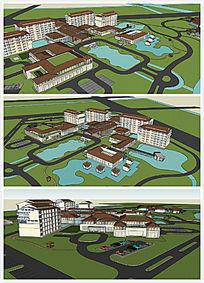 120亩酒店现代风格SU模型