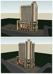 商业区建筑酒店SU模型