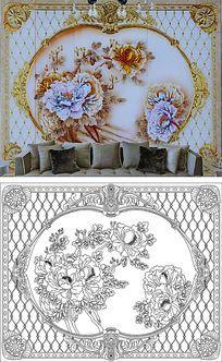 牡丹背景墙雕刻图案