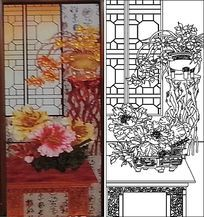 牡丹兰花纹桌雕刻图案