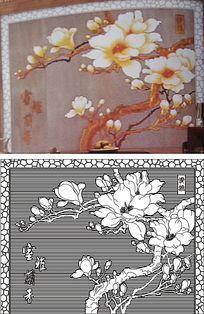 室雅兰香玉兰背景墙雕刻图案