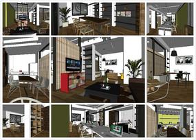 现代风格小型办公室SU模型