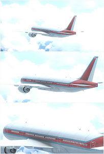 波音客机飞机飞行机尾部特写高清视频