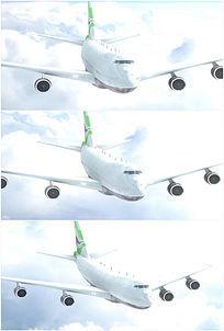 大型客机飞机飞行机头特写背景高清视频