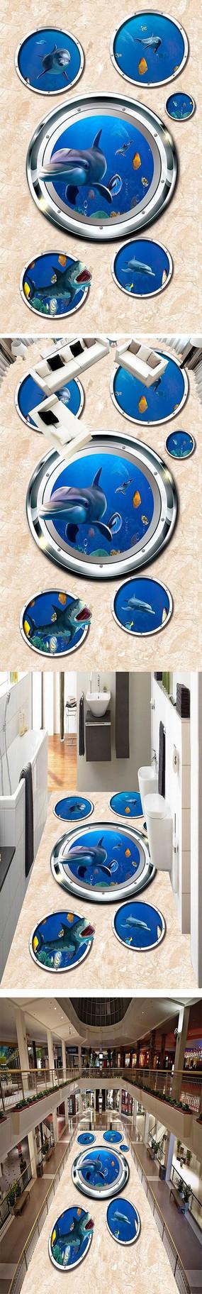 海洋世界海豚3D立体画3D地板