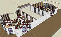 主题咖啡馆室内SKP模型设计