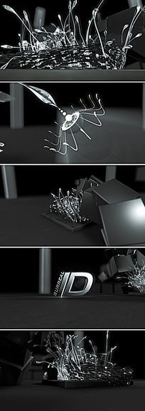 AE 三维科技之花生长LOGO演绎片头C4D模板
